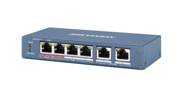 HIKVISION DS-3E0106HP-E PRO SERIES DUAL UPLINK 60W 4 PORT 100M LONG RANGE POE SWITCH