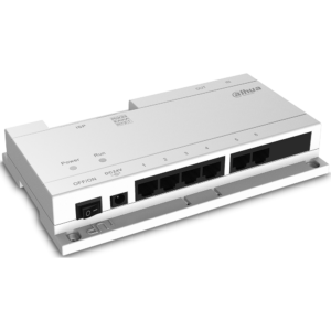 Highlight 6-port Network Power supply for IP Video Intercom system Dahua protocol network power supply switch Connect max 6 indoor monitors with the Cat5e cable Transfer signal + power DC 24V (adaptor sold separately)