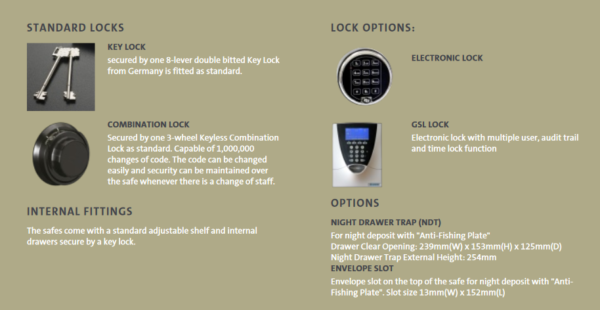CHUBB CUSTODIAN SAFE - SECURED BY KEYLOCK AND KEYLESS COMBINATION LOCK SIZE 1
